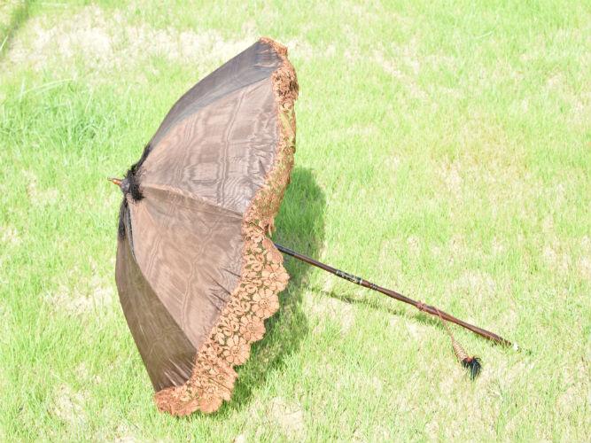 Sombrilla plegable de señora seda natural marrón